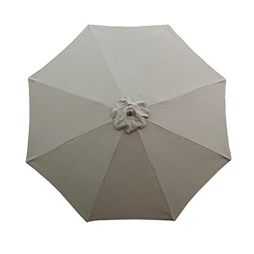 Formosa Covers 9ft Market Umbrella Replacement Canopy 8 Ribs Taupe (Canopy Only) (Formosa Umbrella Covers)