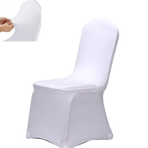 ISWEES Set of 10 PCS White Color Polyester Spandex Chair Covers,Modern Thickening Stretchy Slipcover for Wedding Banquet Anniversary Party Home Decoration - Flat Front