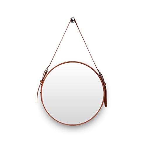 FANXU Faux Leather Round Wall Mirror Decorative Mirror With Hanging Strap, Decorative Vanity Mirror Bathroom Mirror (3 Colors, 3 Sizes) (color : Light brown, Size : 7070cm)