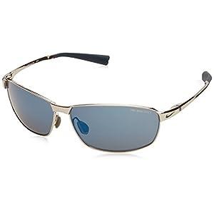 Nike Tour Sunglasses, Chrome/Squadron Blue, Grey with Blue Flash Lens