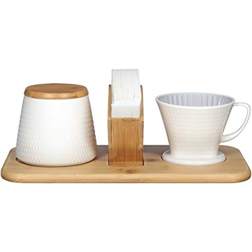 Melitta Artisan Porcelain Pour-Over Coffeemaker and Canister Set, Two Tone Oyster Gray
