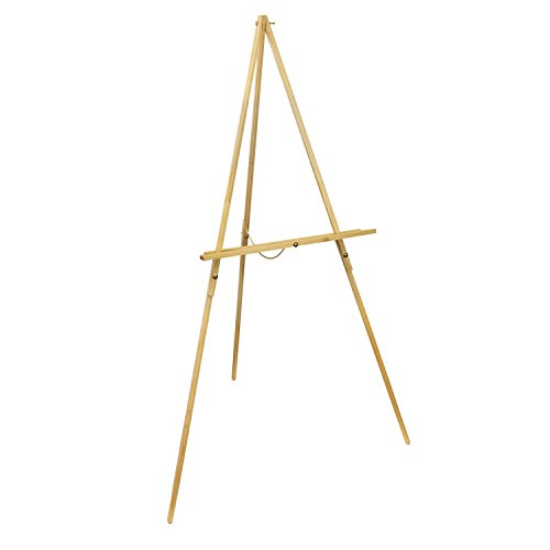 Wood Tripod Stand (US Art Supply Torrey 64 inch High x 27-1/2 inch Wide Wooden Tripod Display Floor Easel & Artist Easel, Adjustable Tray Chain (1-Easel))