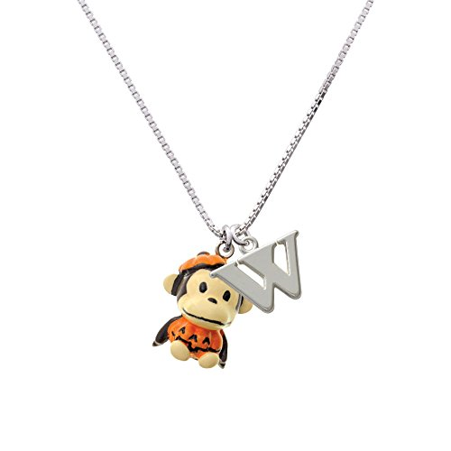 [Resin Monkey in Pumpkin Costume Capital W Initial Necklace] (Letter W Halloween Costumes)