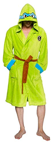 Ninja Turtles Men's TMNT Leonardo Adult Costume Robe, Green/Blue, One -