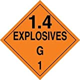 Accuform Signs MPL132VP100 Plastic Hazard Class 1/Division 4G DOT Placard, Legend ''1.4 EXPLOSIVES G 1'', 10-3/4'' Width x 10-3/4'' Length, Black on Orange (Pack of 100)