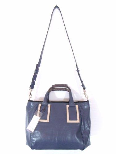BESSO Blue Leather Luxury Italian Handbag Shoulder Bag Purse