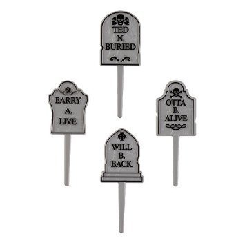 Halloween Party Tombstone Graveyard Cupcake Picks - 24 pcs