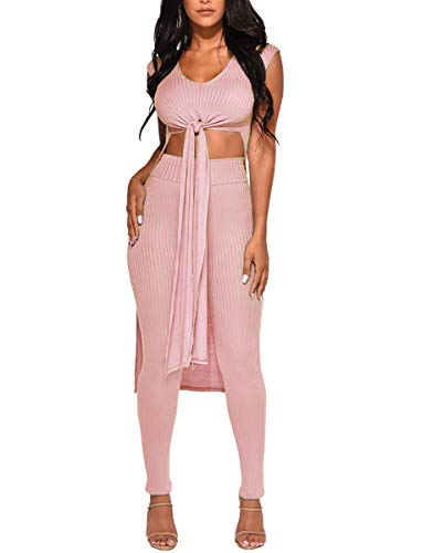- Salimdy Womens Two Piece Outfits - Sleeveless Bandage Tunics Top Maxi Dresses + Bodycon Pants Summer Jumpsuits Pink M
