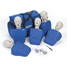 CPR Prompt (5 Pack) BLUE Adult/Child Manikins w/50 Lung Bags, Nylon Carry Cas...