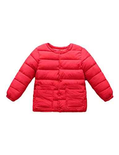 Baby Lightweight Outwear Boys Coats Slim Long Round Neck Casual Warm Red Cotton fit BESBOMIG Sleeve Girls Child Jacket for 5EqO11