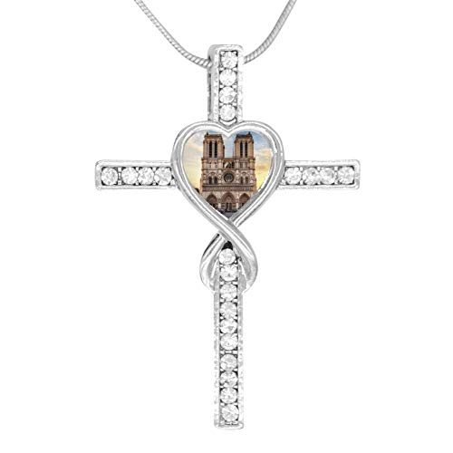 (Zinc Silver Notre Dame de Paris Cross Love Pendant Necklace for Women/Girls Alloy Stainless Steel Gifts)