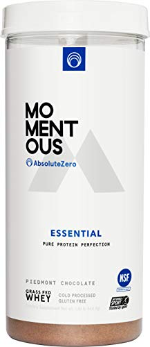 AbsoluteZero Grass-Fed Whey Protein Isolate, 24 Servings Per Jar for Essential Everyday Use, Gluten-Free, NSF Certified - Live Momentous (Chocolate)