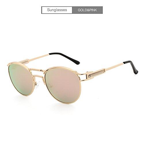 Lente de Sun Espejo pink de Sol Gold Recubrimiento polarizadas Gafas Lente Rays Metal Galsses de XZP 17w0qz8xac
