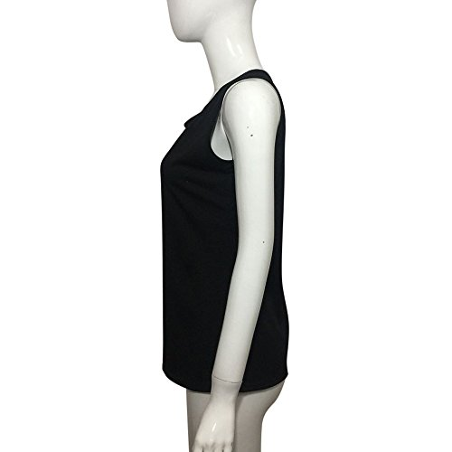 SKY Promotion for the Prime Day !!!La Sra mangas encaje en el pecho concede la chaqueta Sleeveless V Neck Vest T-Shirt Tee Top Blouse Negro Negro