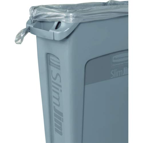 Rubbermaid Commercial Products Slim Jim Plastic Rectangular Trash/Garbage Can with Venting Channels, 23 Gallon, Beige (FG354060BEIG)