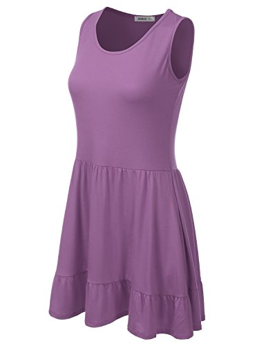 Sleeveless Allentato Bordo Con made Più Donne In Formato Il dustyviolet Dell'increspatura Vestito Awdsd0770 Usa Adatto Doublju c5AX4qcB