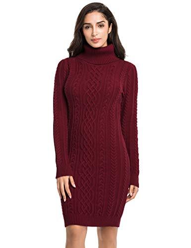 PrettyGuide Women's Knit Sweaters Long Sleeve Turtleneck Stretchy Sweater Dress XXL Burgundy