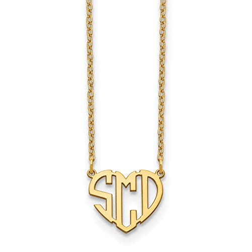 Block Heart Cutout Monogram Necklace - Medium Size Polished Finish (10K Yellow ()