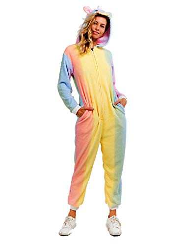 Yelete Plush Rainbow Unicorn Animal Adult Jumpsuit Pajama Costume, S/M