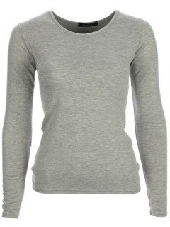 4299a96c21079c NEW WOMENS LADIES PLAIN LONG SLEEVE TOPS T-SHIRT ALL COLOURS SIZE (8-14)  (S/M, LIGHT GREY): Amazon.co.uk: Clothing
