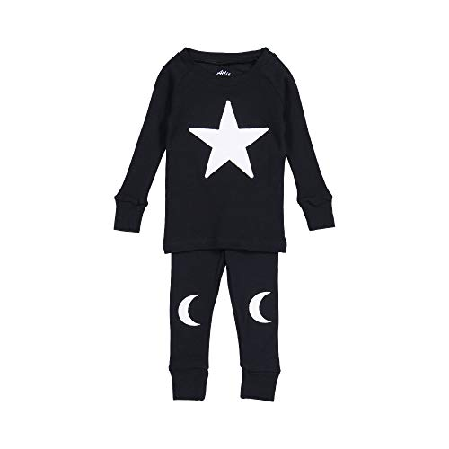 Allie & Oliver 100% Cotton Snug Fit Toddler Pajama Set, Star and Moon, White, 8