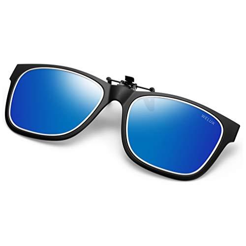 (WELUK Polarized Clip-on Sunglasses Flip up Style over Prescription Glasses for Driving Lightweight)