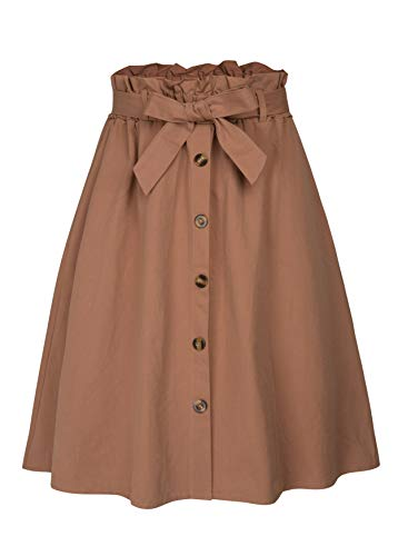 Elastic Womens Skirt - Allonly Women's A-Line High Waisted Button Front Drawstring Pleated Midi Skirt with Elastic Waist Knee Length Brown