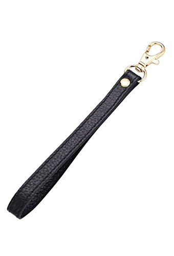 - SeptCity Wristlet KeyChain Cellphone Leather Hand Strap with Golden Lock(Sexy Black)