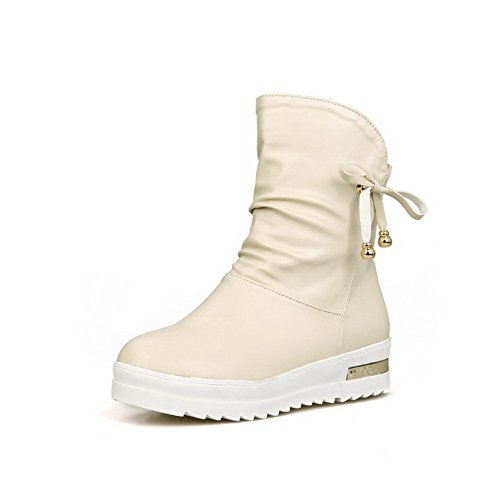AgooLar Women's PU Low-top Solid Pull-on Low-Heels Boots Beige P28zjiBZw