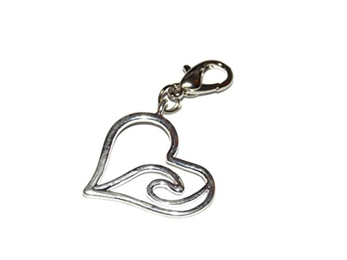 Wave Dangle (Wave Heart Clip on Charm – Easy to Use – Dangle for Floating Locket Necklaces, Charm Bracelets, Purse Decoration)
