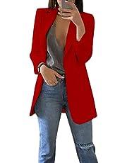 Romose Women Long Sleeve Plain Casual Work Formal Suit Jacket Blazer Open Front Office Cardigan Business Slim Fit Coat