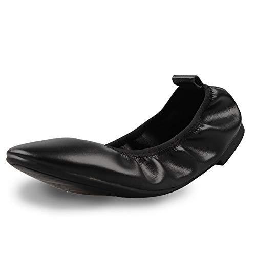 Kunsto Women's Leather Ballet Flat Ladies Dress Casual Comfort Shoes Size 10 Black (Best Ballet Flats For Travel Walking)