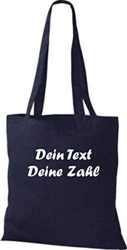 ShirtInStyle Bolso de tela Bolsa de algodón con su Texto deseado individual - Verde, 38 cm x 42 cm azul marino