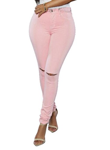 Ansima Pantaloni Foro I Donne Della Jeans Modo Di La Del Wowu Dei Pink Ragazza Matita Delle RqU7w5dH