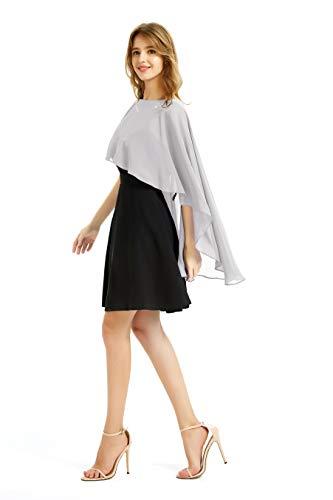 Soft Chiffon Shawls and Wraps women Soft Shrugs Evening Dresses Bridesmaid Stole (gray)