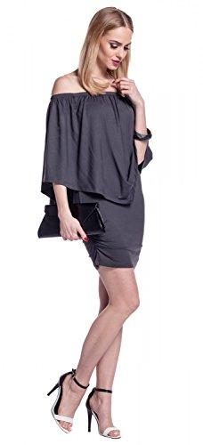 Glamour Empire. Para Mujer Vestido de Tubo a Capas Volante Cuello Bardot. 293 Grafito