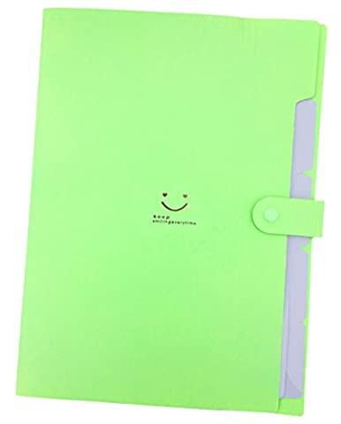 iToolai 5 Pockets Plastic Expanding File Folders A4 Letter Size Snap Closure Paper Organizer, Green
