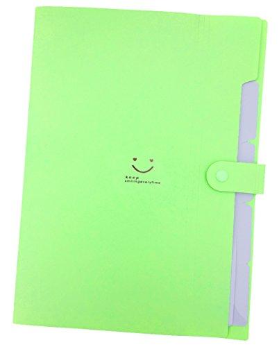 iToolai 5 Pockets Plastic Expanding File Folders A4 Letter Size Snap Closure Paper Organizer, Green (Storage Bin Large Dot)