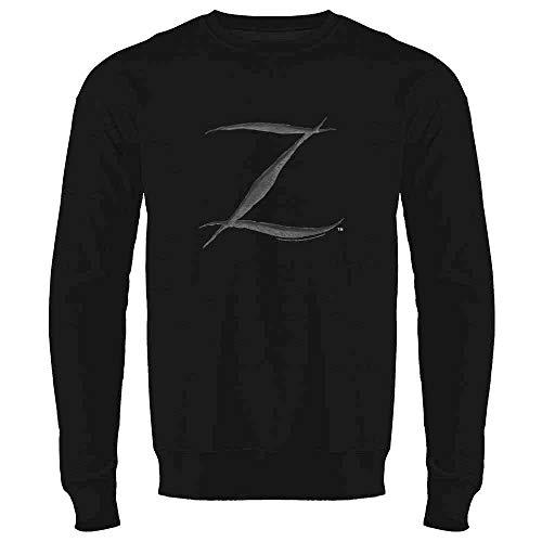 Pop Threads Zorro Big Cut Z Halloween Costume Black L Mens Fleece Crew Sweatshirt