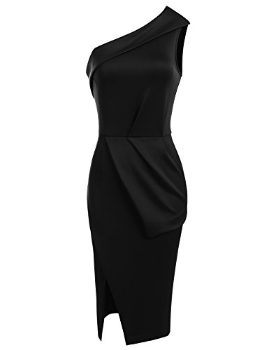 Cassie Mclean Women's One Shoulder Ruched Draped Wear To Work Casual (Draped One Shoulder Dress)