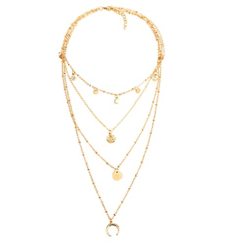 CHANBO Layered Initial Choker Necklaces for Women, Popular Fashion Personality Multi-layer Moon Sun Pendant Necklaces for Women Girls