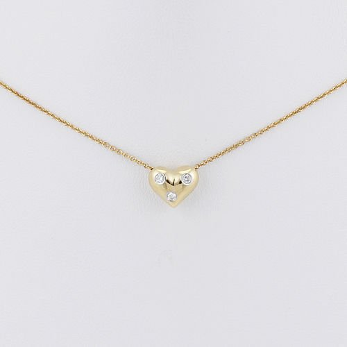 TIFFANY & CO ETOILE DIAMOND HEART PENDANT NECKLACE 18K