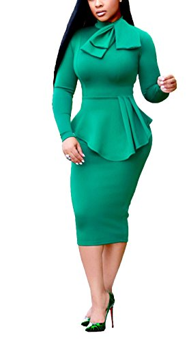 HUANYOU Women Long Sleeve New Solid Color Wear Package Hip Skirt(5 Colors S-XL)