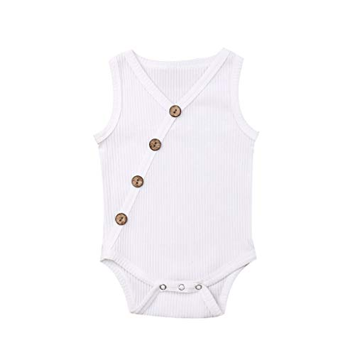 RoDeke Baby Girls Sleeveless Romper Set V Neck Solid Color Striped Button Jumpsuit Romper Bodysuit Sunsuit Outfits Set White
