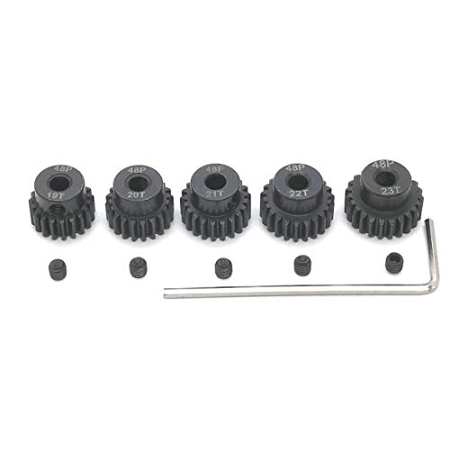 Rc Motor Brushes - 48P 19T 20T 21T 22T 23T Pinion Gear with Screw Driver for 3.175mm Shaft 1/10 RC Brushless Brush Motor by MakerDoIt
