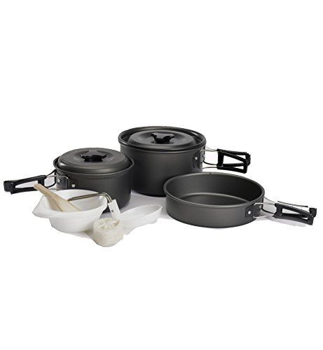 Camping Cookware Set Backpacking Pans Pot Mess Kit for 2-3 Person by ELLEN