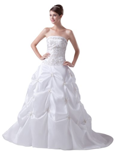 ImPrincess ip4-5291-8 Wedding Dress Gorgeous Style Dipped Strapless Tie Delicate Beading Embroidery Long Cathedral Ball gown White (Tie Strapless Taffeta Dress)