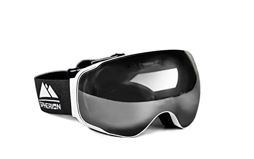 Spherion Gear Ski Goggles + Detachable Amber Lens (Snow White)