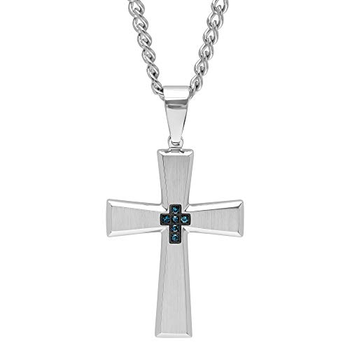 Jewelry Nation Men's Blue Diamond Stainless Steel Cross Pendant Necklace, 24