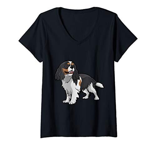 Womens Cute Tri-Color Cavalier King Charles Spaniel V-Neck T-Shirt